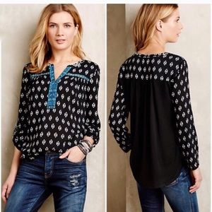 Anthro One September Black and Blue Matura Blouse